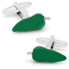 Silver Plated Chili Pepper Cufflinks