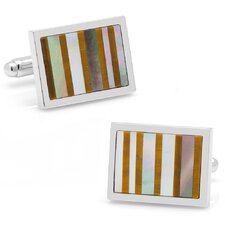 Silver Plated Tiger's Eye and Black Mother of Pearl Striped Cufflinks