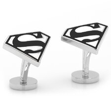 DC Comics Silver Plated Superman Shield Cufflinks