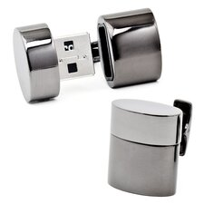 Gunmetal Oval USB Cufflinks (4GB)