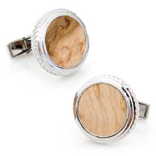 Sterling Silver Opus Wood Cufflinks