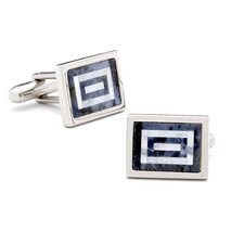 Sodalite and Mother of Pearl Maze Cufflinks