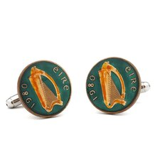 Hand Painted Irish Eire Coin Cufflinks