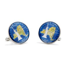 Hand Painted New York Quarter Cufflinks