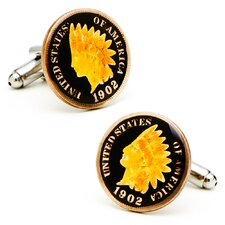 Hand Painted Indian Head Penny Cufflinks