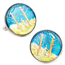 Hand Painted Vermont State Quarter Cufflinks