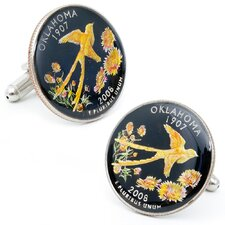 Hand Painted Oklahoma State Quarter Cufflinks