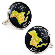 Hand Painted Michigan State Quarter Cufflinks