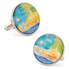 Hand Painted Nebraska State Quarter Cufflinks