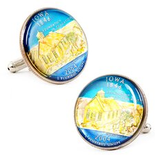 Hand Painted Iowa State Quarter Cufflinks