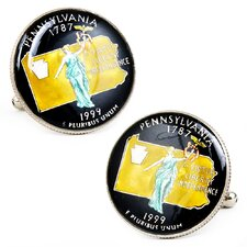 Hand Painted Pennsylvania State Quarter Cufflinks