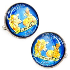 Hand Painted Wisconsin State Quarter Cufflinks