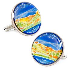 Hand Painted West Virginia State Quarter Cufflinks