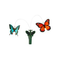 Solar Powered Double Fluttering Butterfly Garden Stake