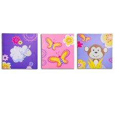 3 Piece Jungle Girl's Canvas Art