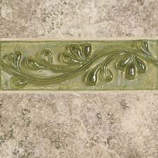 "Cristallo Glass 8"" x 3"" Decorative Vine Chair Rail Tile Trim in Peridot"