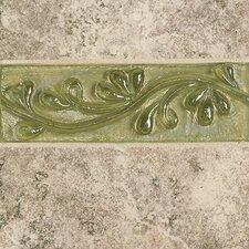 """Cristallo Glass 8"""" x 3"""" Decorative Vine Chair Rail Tile Trim in Peridot"""
