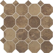 Aspen Lodge Octagon Dot Ceramic Unpolished Mosaic Field Tile in Cotto Mist