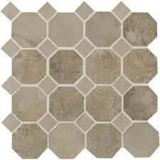 "Aspen Lodge 12"" x 12"" Octagon Dot Mosaic Field Tile in Shadow Pine"