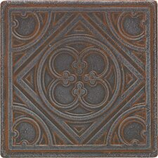 "Castle Metals 4-1/4"" x 4-1/4"" Clover Decorative Wall Tile in Wrought Iron"