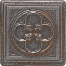 "Castle Metals 2"" x 2"" Clover Dot Decorative Accent Tile in Wrought Iron"