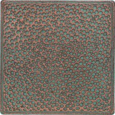 """Castle Metals 4-1/4"""" x 4-1/4"""" Hammered Decorative Wall Tile in Aged Copper"""