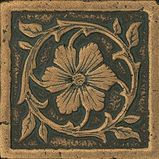 "Metal Signatures Jardin 3"" x 3"" Corner Tile in Aged Bronze"