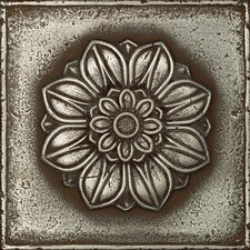 "Metal Signatures Rosette Pointed 6"" x 6"" Decorative Tile in Aged Iron"