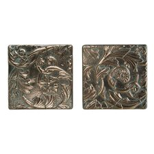 "Metal Signatures Acanthus Tumbled Stone 6"" x 6"" Decorative Tile in Aged Bronze (Set of 2)"