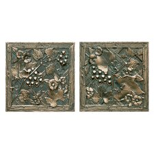 "Metal Signatures Trellis 4-1/4"" x 4-1/4"" Decorative Tile in Aged Bronze (Set of 2)"