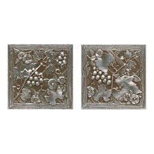 "Metal Signatures Trellis 6"" x 6"" Decorative Tile in Aged Iron (Set of 2)"
