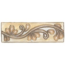 "Cristallo Glass 3"" x 8"" Decorative Vine Chair Rail in Smoky Topaz"