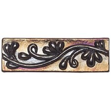 "Cristallo Glass 8"" x 3"" Decorative Vine Chair Rail Tile Trim in Black Opal"