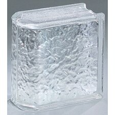 "Glass Block 8"" x 8"" Icescapes End Block"