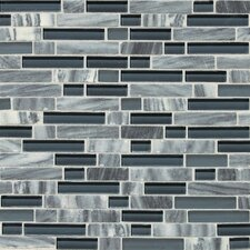 Stone Radiance Random Sized Mosaic Tile Blend in Glacier Gray Marble