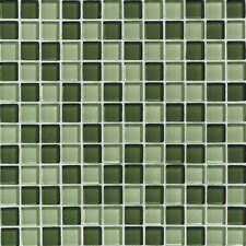 """Glass Reflections 1"""" x 1"""" Glossy Mosaic Tile Blend in Rain Forest"""