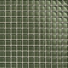 "Maracas Glass 1"" x 1"" Glossy Mosaic Tile in Green Leaf"
