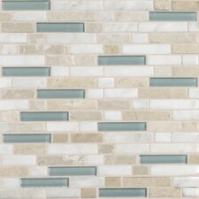 Stone Radiance Random Sized Mosaic Tile Blend in Whisper Green