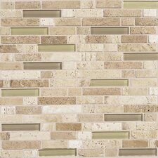 "Stone Radiance 12"" x 12"" Random Mosaic Tile Blend in Mushroom / Morning Sun"