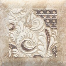 "Del Monoco 6-1/2"" x 6-1/2"" Glazed Decorative Tile in Carmina Beige"