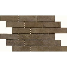 Concrete Connection Porcelain Interlocking Border Mosaic Tile in Eastside Brown