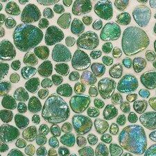 "Glass Pebbles 10"" x 10"" Decorative Accent in Emerald Green Iridescent"
