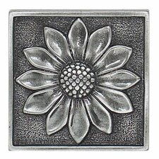 "Massalia 2"" x 2"" Decorative Floral Accent in Pewter"
