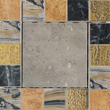 "Terra Antica 6"" x 6"" Decorative Accent Insert in Celeste / Grigio"