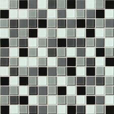 """Isis 1"""" x 1"""" Glass Mosaic Tile in Pewter Blend"""
