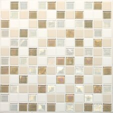 "Keystones Blends 1"" x 1"" Porcelain with Oceanside Glass Unpolished Mosaic in Coconut Beach"