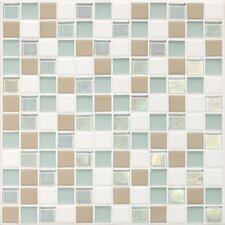 "Keystones Blends 1"" x 1"" Porcelain with Oceanside Glass Unpolished Mosaic in Trade Wind"
