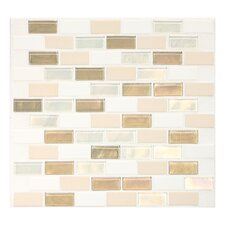 "Keystones Blends 2"" x 1"" Porcelain with Oceanside Glass Unpolished Mosaic in Coconut Beach"
