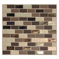 "Keystones Blends 2"" x 1"" Porcelain with Oceanside Glass Mosaic Tile in Treasure Island"