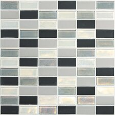 "Keystones Blends 2"" x 1"" Straight - Joint Porcelain with Oceanside Glass Mosaic Tile in Tropical Thunder"